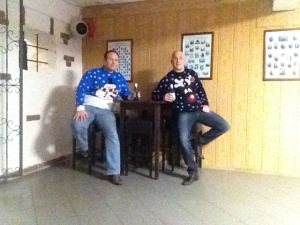 Just kicking back having a beer, wearing our Christmas jumpers in October